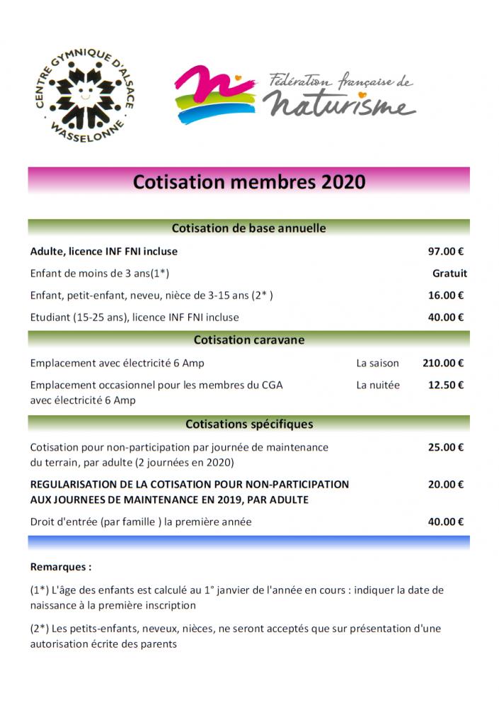 Tarifs membres 2020