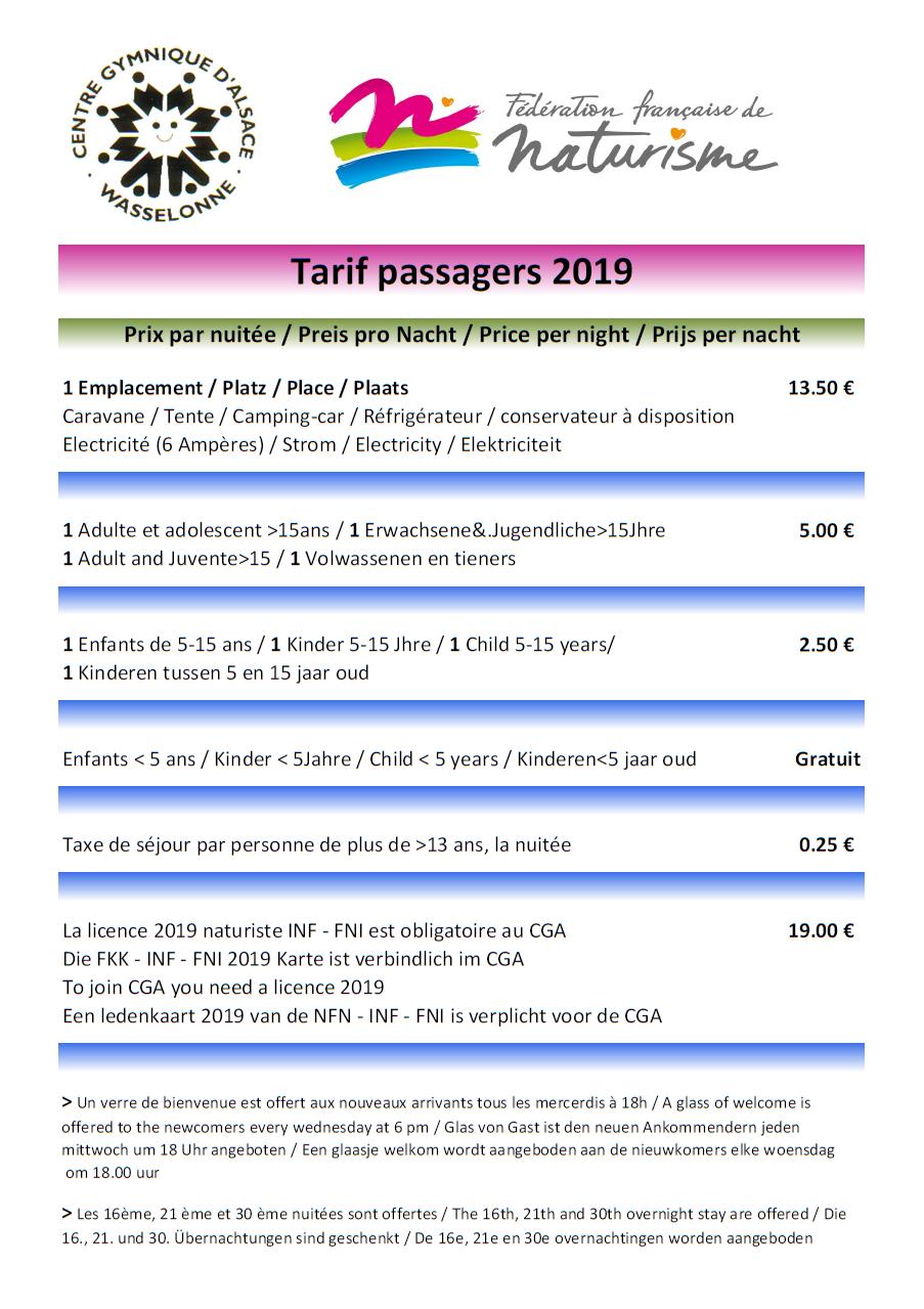 Tarifs passagers 2019 v2