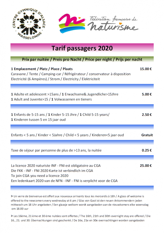 Tarifs passagers 2020