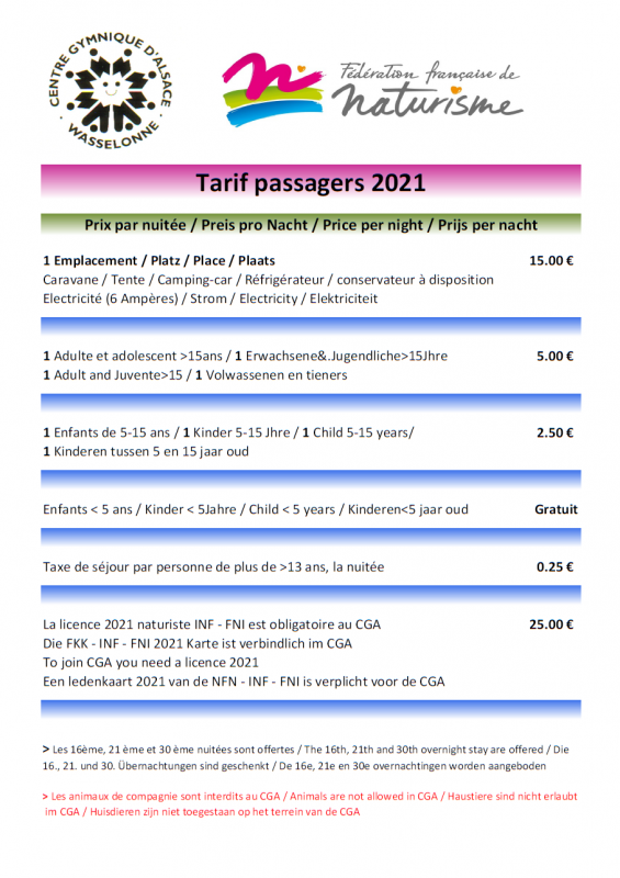 Tarifs passagers 2021 covid animaux