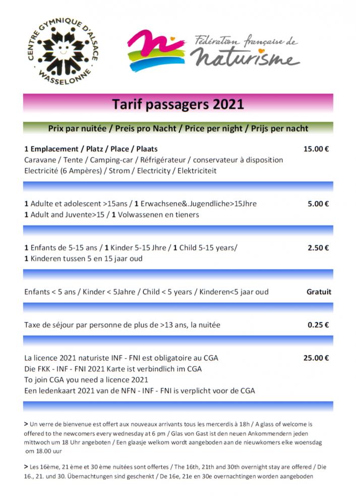 Tarifs passagers 2021